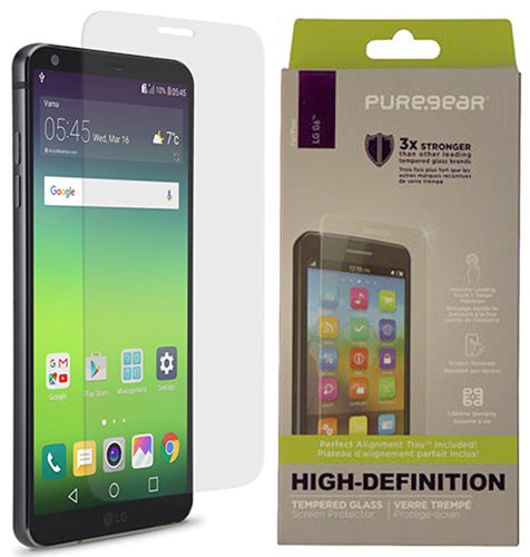 PureGear PureTek Tempered Glass Screen Protector with Tray for LG G6, G6-Plus