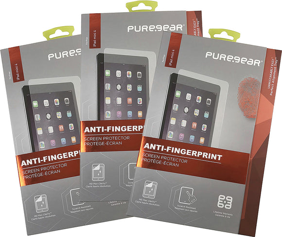 3x PureGear PureTek Screen Protector for Apple iPad Mini 4 (Anti-Fingerprint)