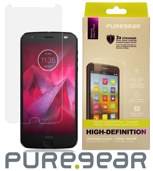 PureGear PureTek Tempered Glass Screen Protector and Tray for Moto Z2 Play/Force