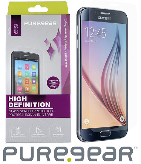 PUREGEAR PURETEK 9H TEMPERED GLASS SCREEN PROTECTOR + TRAY FOR SAMSUNG GALAXY S6