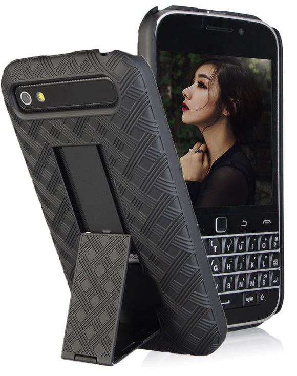 Black Kickstand Slim Case Hard Cover for BlackBerry Classic, Q20