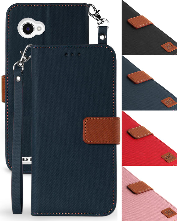 Wallet Slot Case Stand + Wrist Strap Lanyard for LG Q6, Q6+, M700/M703