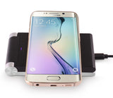 SILVER BLACK 3-COIL QI WIRELESS CHARGER PAD FOLDING ADJUSTABLE STAND FOR PHONE
