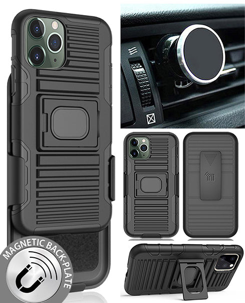 Black Rugged Case + Belt Clip + Magnetic Car Mount for Apple iPhone 11 Pro