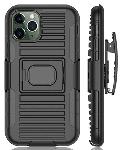 Black Rugged Grip Case with Ring Stand + Belt Clip for Apple iPhone 11 Pro