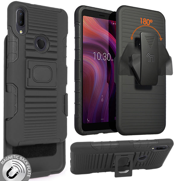 Black Rugged Grip Case Stand and Belt Clip Holster for Alcatel 3V (2019, 5032W)