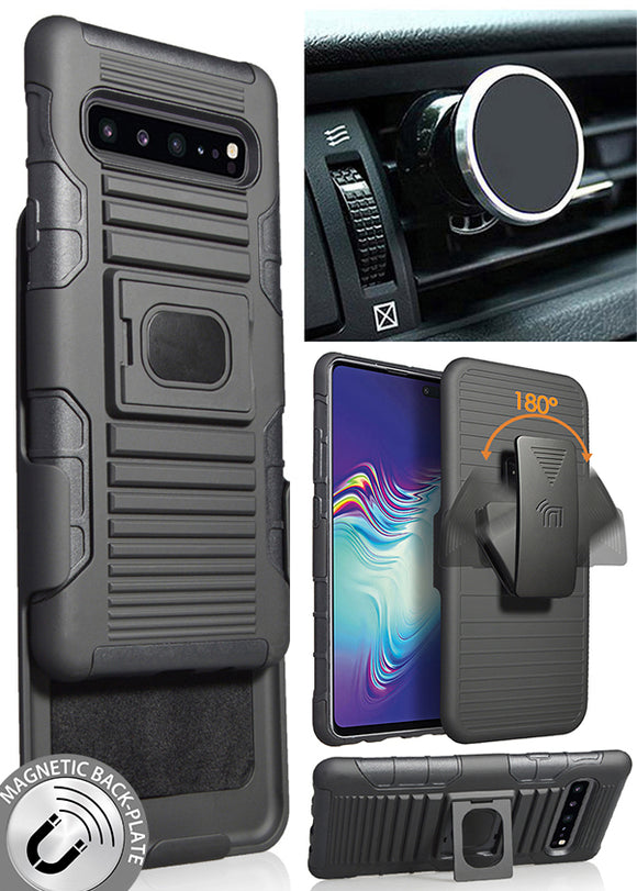 Black Rugged Case Belt Clip Magnetic Car Mount for Samsung Galaxy S10 5G SM-G977