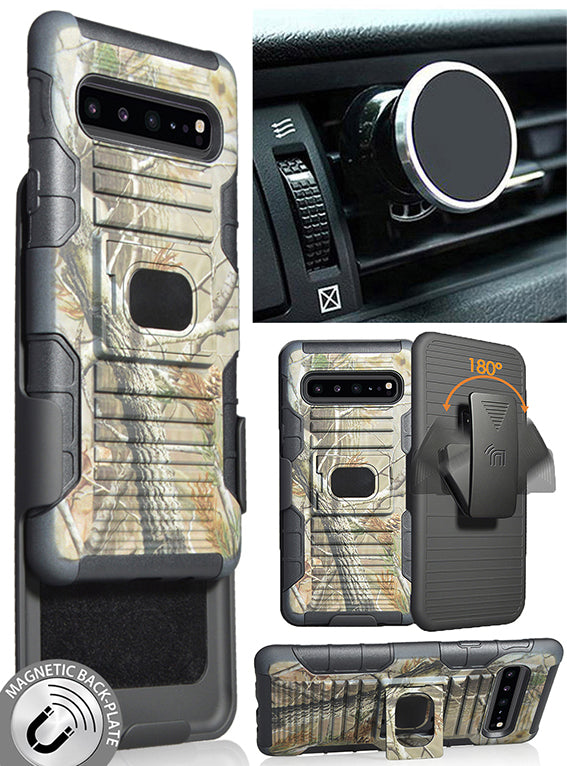 Camo Tree Real Woods Case Belt Clip Magnetic Car Mount for Samsung Galaxy S10 5G