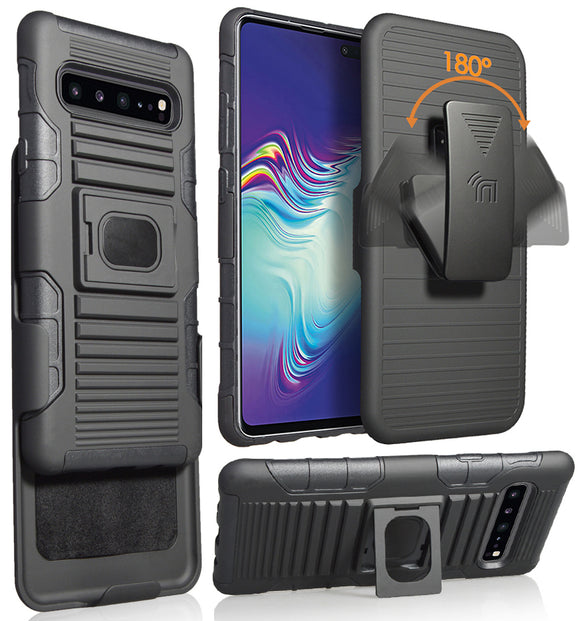Black Grip Case Cover Stand Belt Clip Holster for Samsung Galaxy S10 5G SM-G977