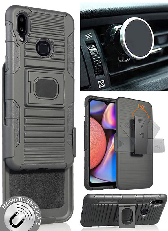 Black Rugged Case + Belt Clip + Magnetic Car Mount for Samsung Galaxy A10s 2019