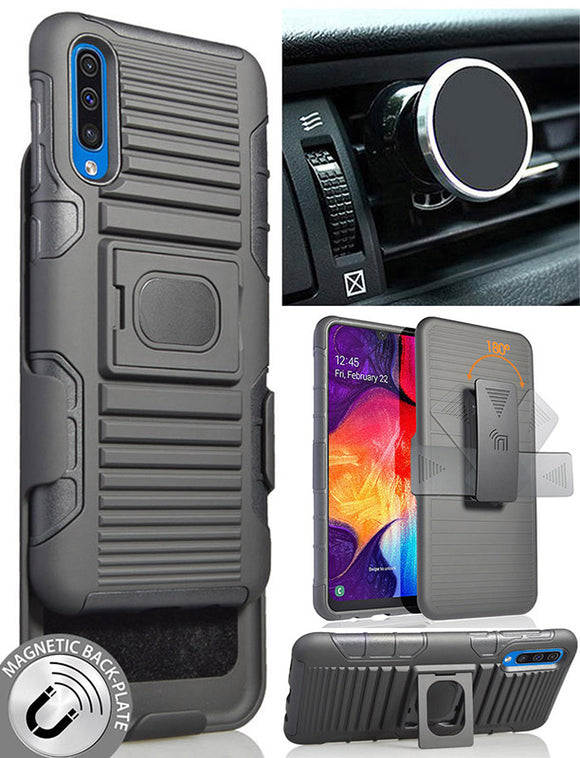 Black Rugged Case Stand + Belt Clip + Magnetic Car Mount for Samsung Galaxy A50