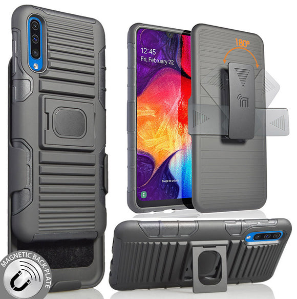 Black Magnet Grip Case Cover Stand + Belt Clip Holster for Samsung Galaxy A50