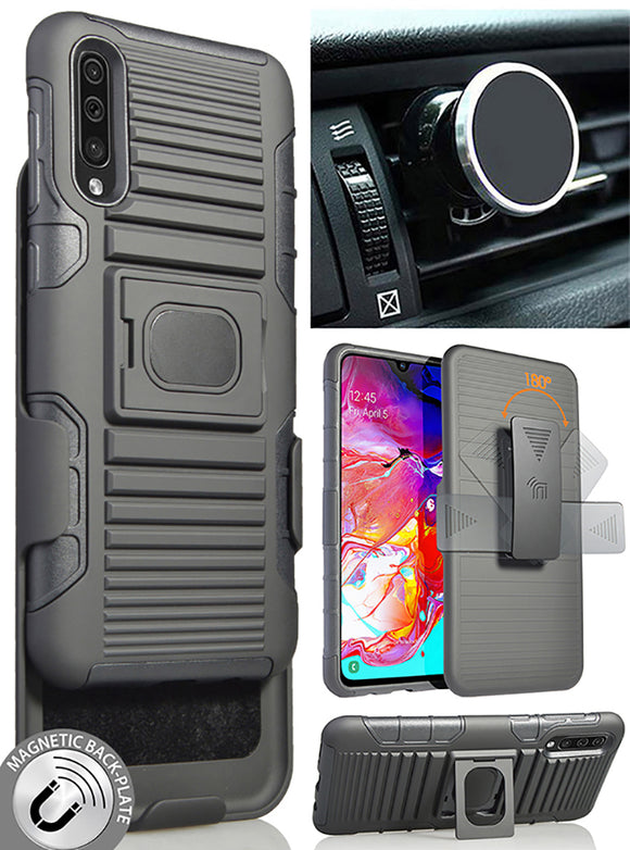 Black Rugged Case + Belt Clip + Magnetic Car Mount for Samsung Galaxy A70 (2019)