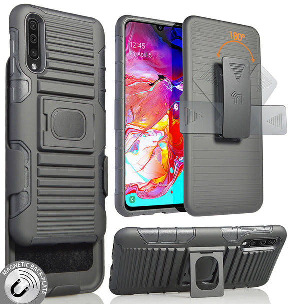 Black Rugged Grip Case with Stand + Belt Clip Holster for Samsung Galaxy A70