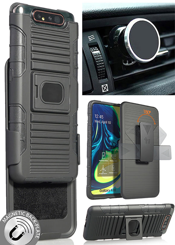 Black Rugged Case + Belt Clip + Magnetic Car Mount for Samsung Galaxy A80