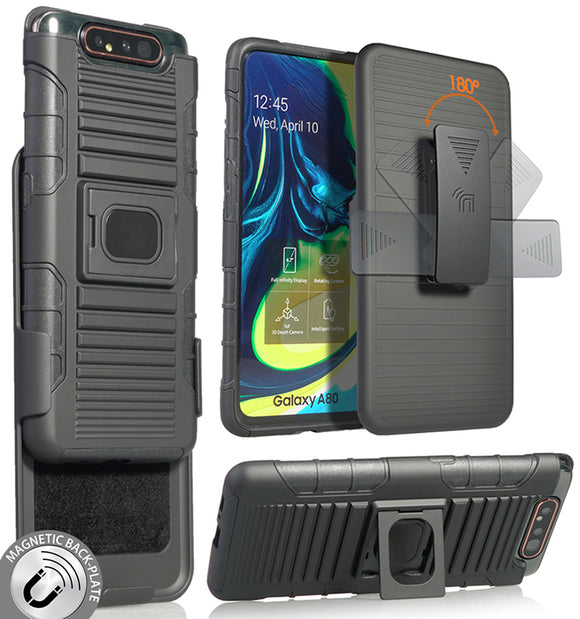 Black Rugged Grip Case with Stand + Belt Clip Holster for Samsung Galaxy A80