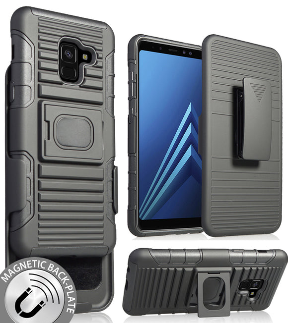 Black Magnet Grip Case + Belt Clip Holster Stand for Samsung Galaxy A8 (2018)