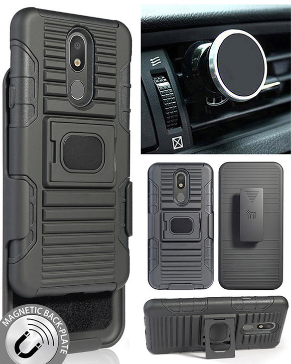Black Rugged Case with Belt Clip + Magnetic Car Mount for LG Arena 2, LG Prime 2