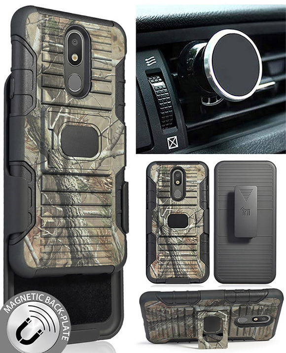 Camo Tree Woods Case + Belt Clip + Magnetic Car Mount for LG Arena 2, LG Prime 2