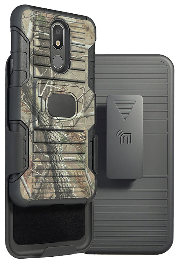 Camo Tree Leaf Real Woods Rugged Case + Belt Clip for LG Escape Plus, K30 (2019)