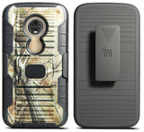 Camo Tree Real Woods Case + Belt Clip Holster for Motorola Moto E5 Play/Cruise