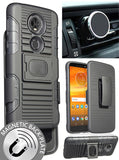 Black Rugged Case + Belt Clip + Magnet Car Mount for Motorola Moto E5 Plus/Supra