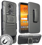 Black Magnet Grip Case + Belt Clip Holster Stand for Motorola Moto E5 Plus/Supra