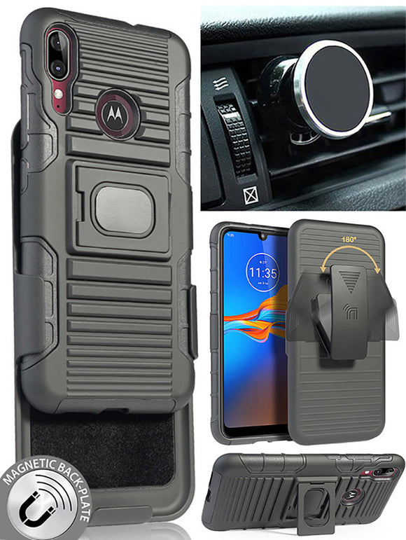 Black Rugged Case Belt Clip Magnetic Car Mount for Motorola Moto E6 Plus, E6+