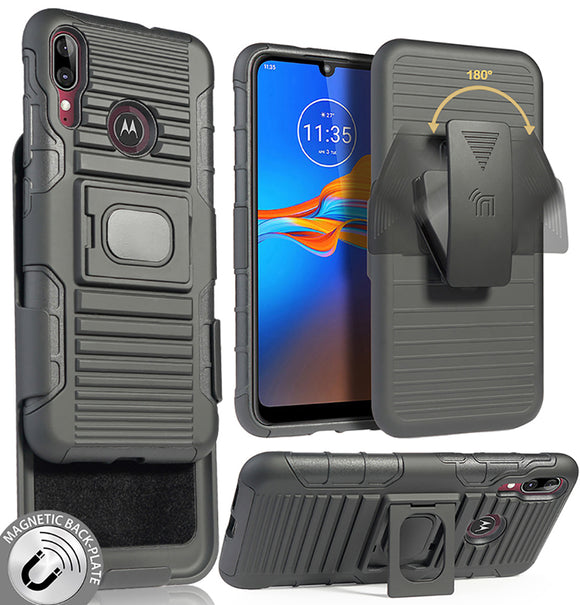 Black Rugged Grip Case Stand Belt Clip Holster for Motorola Moto E6 Plus, E6+