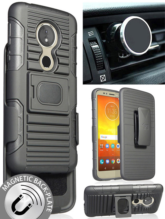 Black Case + Belt Clip + Magnetic Car Mount for Motorola Moto G6 Play/Forge