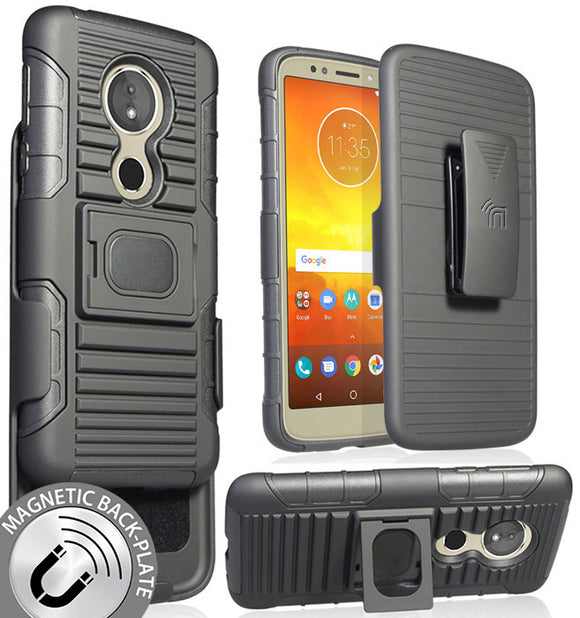 Black Magnet Grip Case Cover Belt Clip Holster for Motorola Moto G6 Play/Forge
