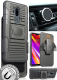 Black Grip Case + Belt Clip Holster + Magnetic Car Mount for LG G7 ThinQ G7+