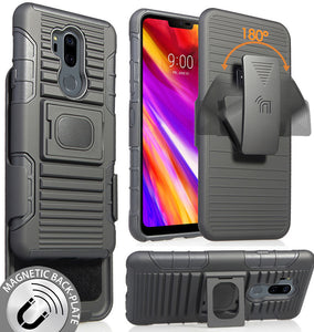 Black Magnet Grip Case Cover + Belt Clip Holster Stand for LG G7 ThinQ G7+