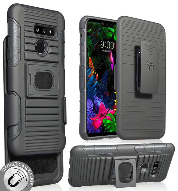 Black Rugged Ring Grip Case Cover + Belt Clip Holster for LG G8 ThinQ (LM-G820)