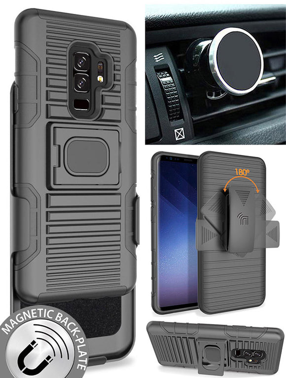 Black Case + Belt Clip Holster + Magnetic Car Mount for Samsung Galaxy S9 Plus