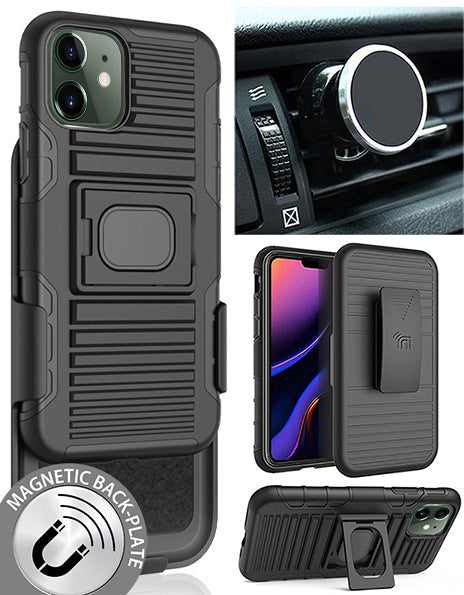 Black Rugged Case + Belt Clip + Magnetic Car Mount for Apple iPhone 11