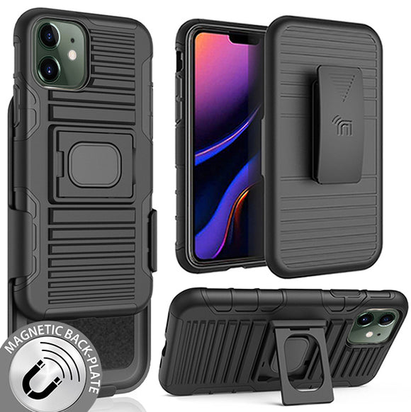 Black Rugged Grip Case Ring Stand + Belt Clip Holster for Apple iPhone 11