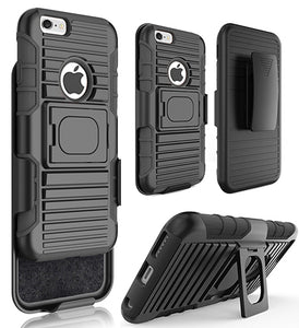 "BLACK GRIP RING CASE COVER + BELT CLIP HOLSTER STAND FOR iPHONE 6/6s PLUS (5.5"")"