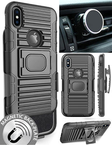 BLACK CASE + BELT CLIP HOLSTER + MAGNETIC CAR MOUNT FOR APPLE iPHONE X / 10
