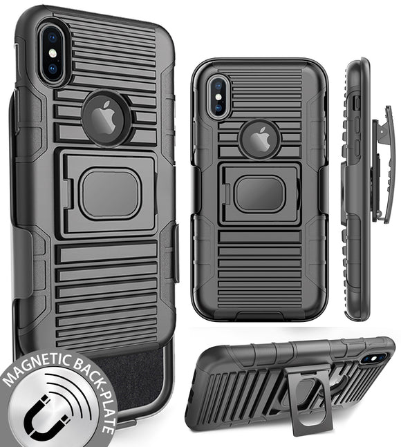 BLACK MAGNET GRIP CASE + BELT CLIP HOLSTER STAND FOR APPLE iPHONE X / 10