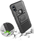 Black Rugged Magnet Grip Case Cover + Belt Clip Holster for iPhone Xs/X/10/10s