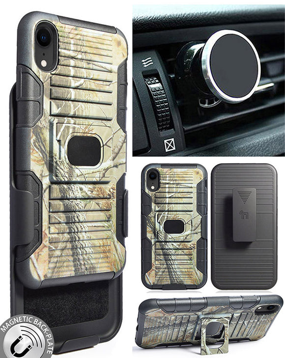 Camo Tree Real Woods Case + Belt Clip + Magnetic Car Mount for iPhone XR (10R)