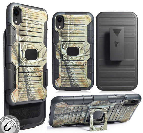 Outdoor Camo Tree Real Woods Case Cover + Belt Clip for Apple iPhone XR (10R)