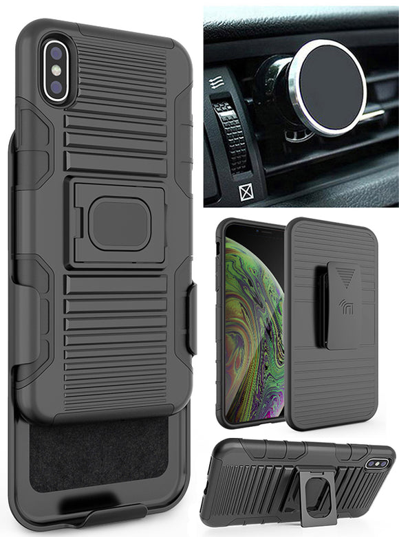Black Rugged Case Stand + Belt Clip + Magnetic Car Mount for iPhone Xs Max 6.5