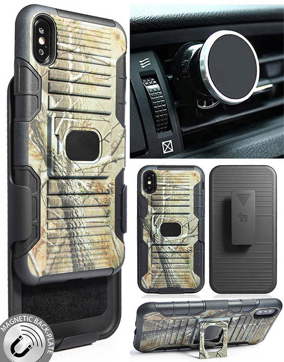 Camo Tree Real Woods Case + Belt Clip + Magnetic Car Mount for iPhone Xs Max