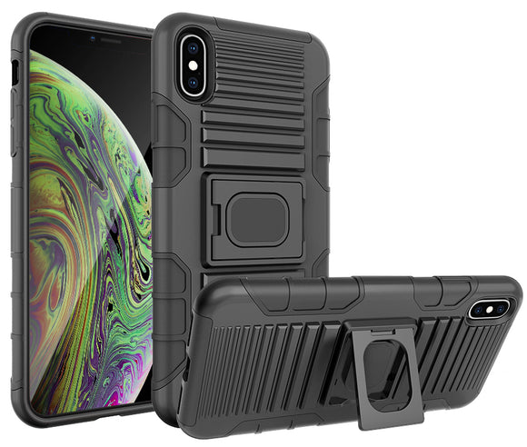 Black Rugged Magnet Grip Case Cover + Belt Clip Holster for iPhone Xs Max 6.5