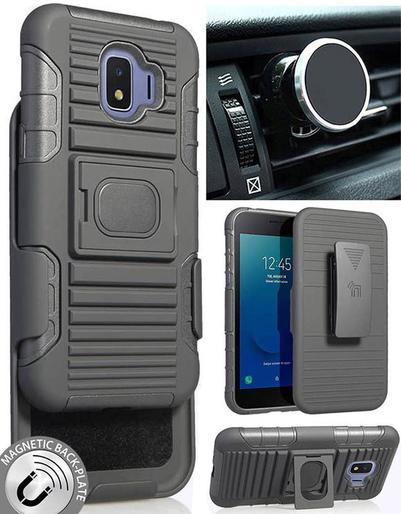 Black Rugged Case Stand Belt Clip Magnetic Car Mount for Samsung Galaxy J2 Core