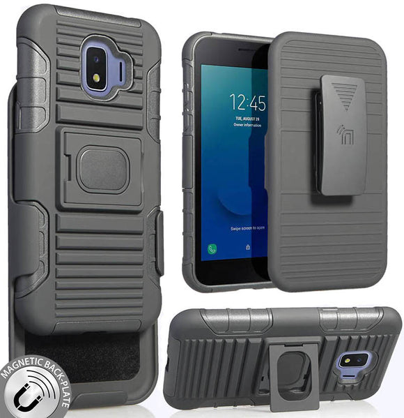 Black Magnet Grip Case Cover Stand Belt Clip Holster for Samsung Galaxy J2 Core