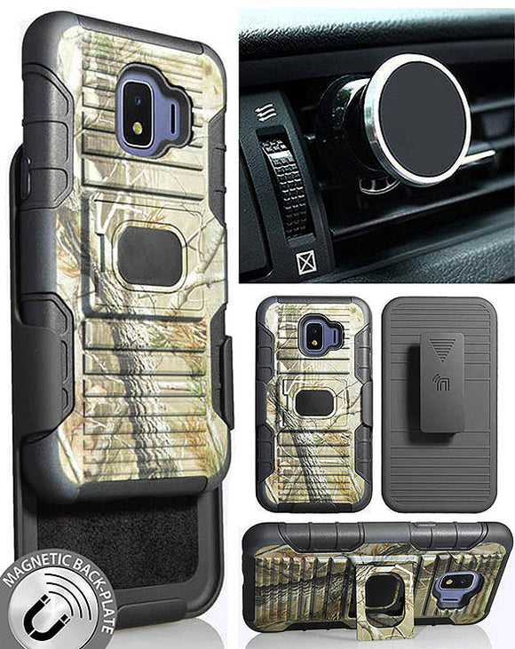 Camo Tree Real Woods Case Belt Clip Magnetic Car Mount for Galaxy J2 Pure/Core