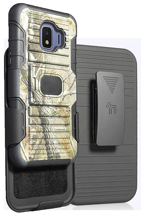 Outdoor Camo Tree Real Woods Case + Belt Clip for Samsung Galaxy J2 Pure/Core